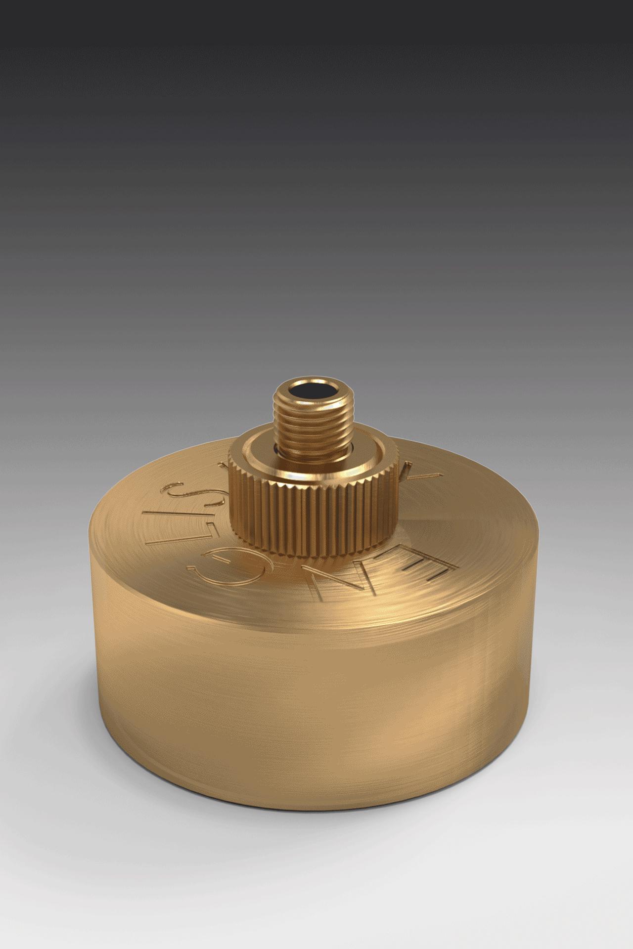 brass box on grey background